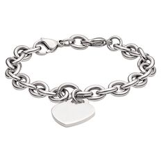 Stainless Steel Heart Bracelet 21.5cm
