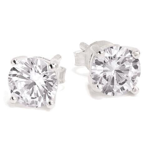 Sterling Silver White CZ Earrings 6mm