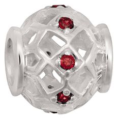 Ane Si Dora Sterling Silver Red CZ Weave Charm