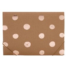 Stylo Kraft Folder with Elastic with Rose Gold Foil Print A4