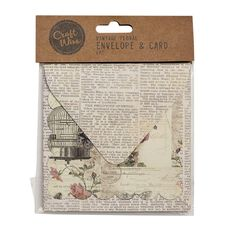 Craftwise Vintage Floral Envelope and Card 6 Piece