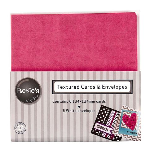 Rosie's Studio Textured Cards Pink 134mm x 134mm 6 Pack