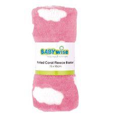 Babywise Printed Coral Fleece Blanket Pink