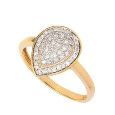 1/4 carat of Diamonds 9ct Gold Diamond Pear Shape Ring