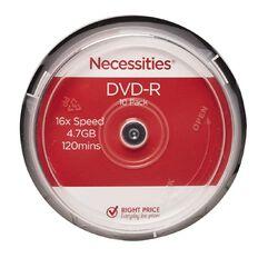 Necessities Brand DVD-R 10 Pack