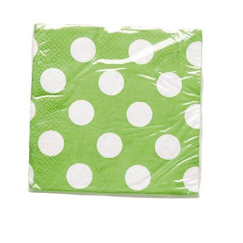 Unique Napkins Dots Lime Large 16 Pack