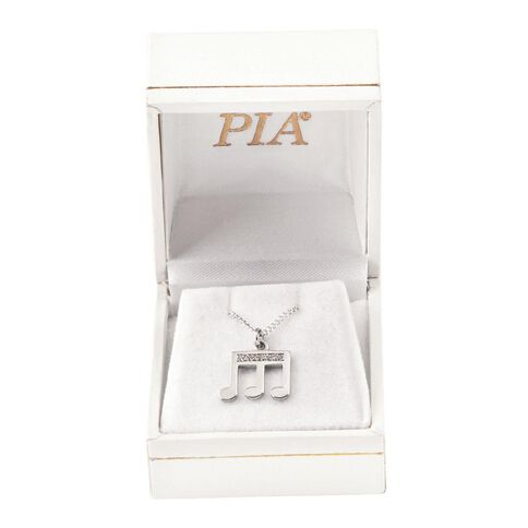 Pia Notes Sterling Silver Diamond Triple Note Pendant