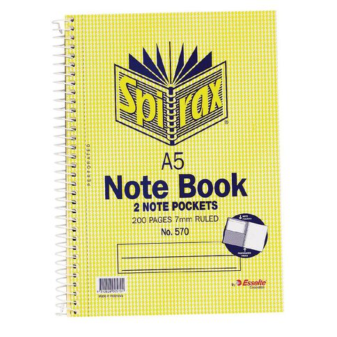 Spirax Notebook Spiral No.570 200pg 7mm Ruled A5