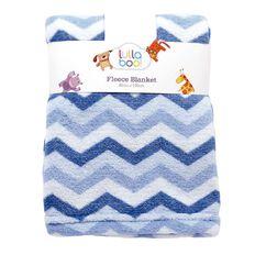 Lullaboo Baby Blanket Cloral Fleece Chevron Blue