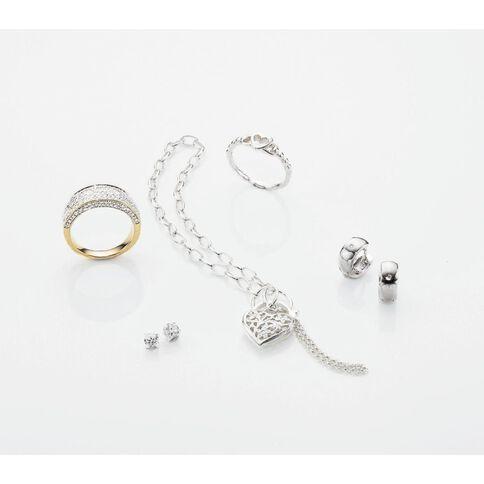 Sterling Silver Belcher Heart Padlock Bracelet 19cm