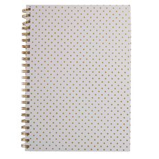 Stylo Spiral Notebook White with Gold Foil Dots A4 100GSM