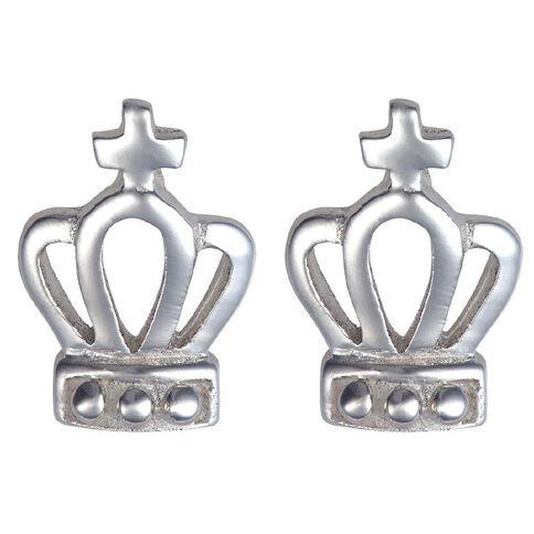 Sterling Silver Small Crown Stud Earrings