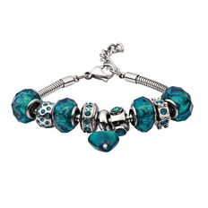 Stainless Steel 9 Charms Green Charm Bracelet