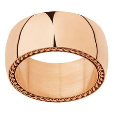 Stainless Steel Rose Gold Plated Wide Rope Edge Ring