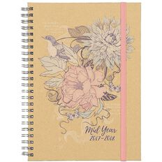 Diary Mid Year 2017-2018 A5 Week to View Hard Cover Spiral Kraft