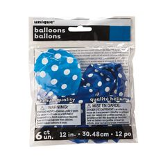 Unique Balloons Royal Blue with Dots 30cm 6 Pack