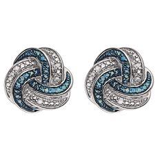 Sterling Silver Blue Diamond Knot Earrings