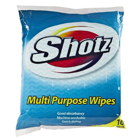 Shotz Cloth Wipes Coloured 10 Pack