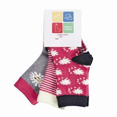 Hippo + Friends Girls' Socks 3 Pack