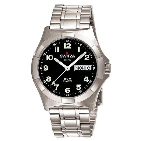 Switza Men's Stainless Steel Watch with Black Figure Dial