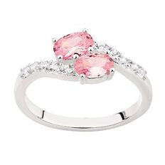Sterling Silver CZ Pink and White Ring