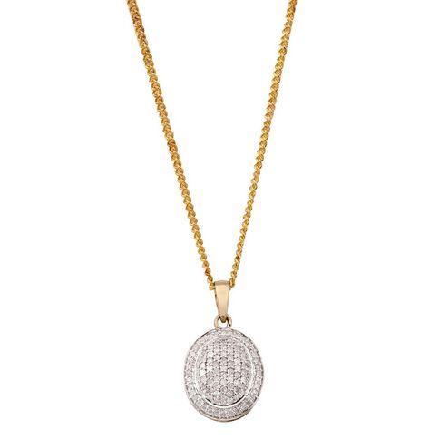 1/2 carat of Diamonds 9ct Gold Oval Diamond Pendant