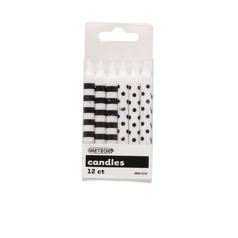 Meteor Candles Dots & Stripes Black 12 Pack