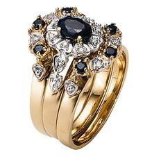 9ct Gold Diamond Sapphire Trio Set Ring