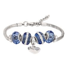 Stainless Steel 5 Charms Blue Heart Bracelet
