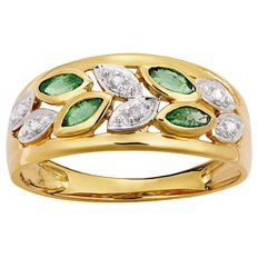 9ct Gold Diamond and Emerald  Flower Ring