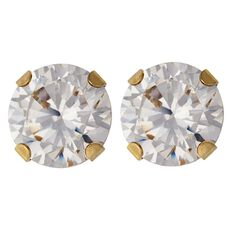 9ct Gold 4 Claw CZ Stud Earrings 8mm