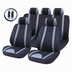 Auto FX Car Seat Cover Polyester Value Set Low Back Black/Grey