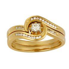 1/4 Carat of Diamonds 9ct Gold Diamond Scroll Bridal Set