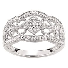 Sterling Silver Diamond Pave Ring
