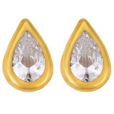 9ct Gold CZ Pear Stud Earrings