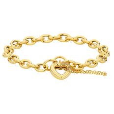 9ct Gold Heart Charm Hollow Bracelet 19cm