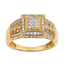 1/4 Carat of Diamonds 9ct Gold Diamond Art Deco Ring