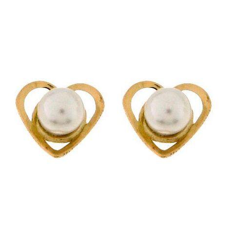 9ct Gold Fresh Water Pearl Heart Stud Earrings