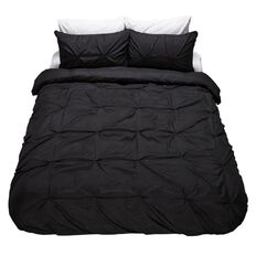 Living & Co Onyx Duvet Cover Set Sienna Pintuck Queen