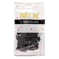 Party Inc Balloons Printed Black Stars 25cm 12 Pack