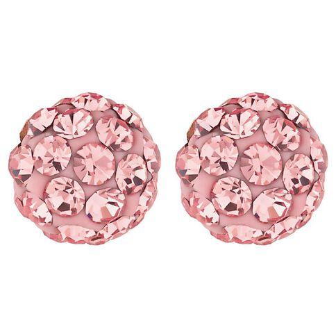 Sterling Silver Pink Crystal Stud Earrings 6mm