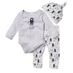 Hippo + Friends Baby Boy Bodysuit & Leggings 3 Piece Set