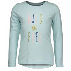 Basics Brand Girls' Long Sleeve Print Front Tee
