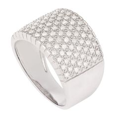 1/2 Carat of Diamonds Sterling Silver Wide Band Ring