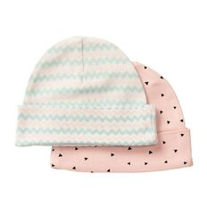Hippo + Friends Baby Girl Printed Beanies 2 Pack