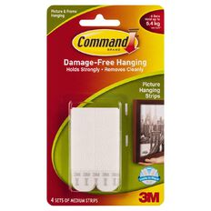 Command Medium Picture Hanging Strips White 4 Sets/Pack