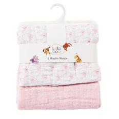 Lullaboo Muslin Wraps Pink 2 Pack