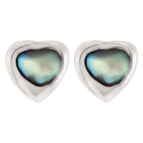 Sterling Silver and Paua Heart Stud Earrings