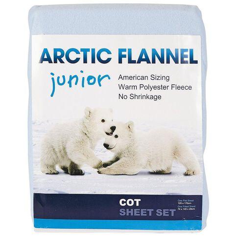 Arctic Flannel Cot Sheet Set Blue
