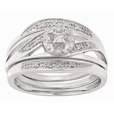Sterling Silver Diamond Trio Set Ring